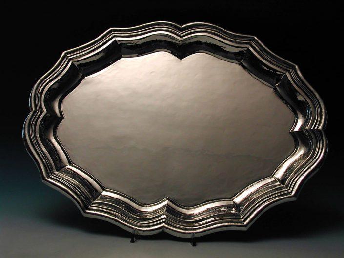Vassoio artigianale in argento lavorato